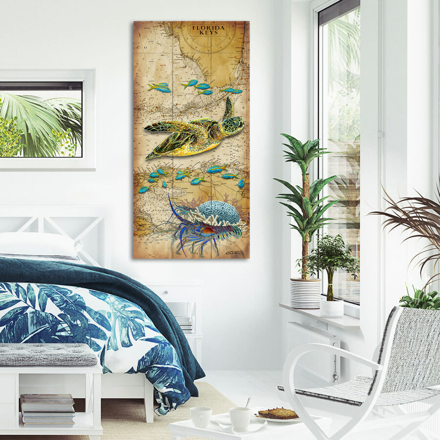 Turtle Lobster Chart_RUSTIC_FLORIDA KEYS 11x24 900x900